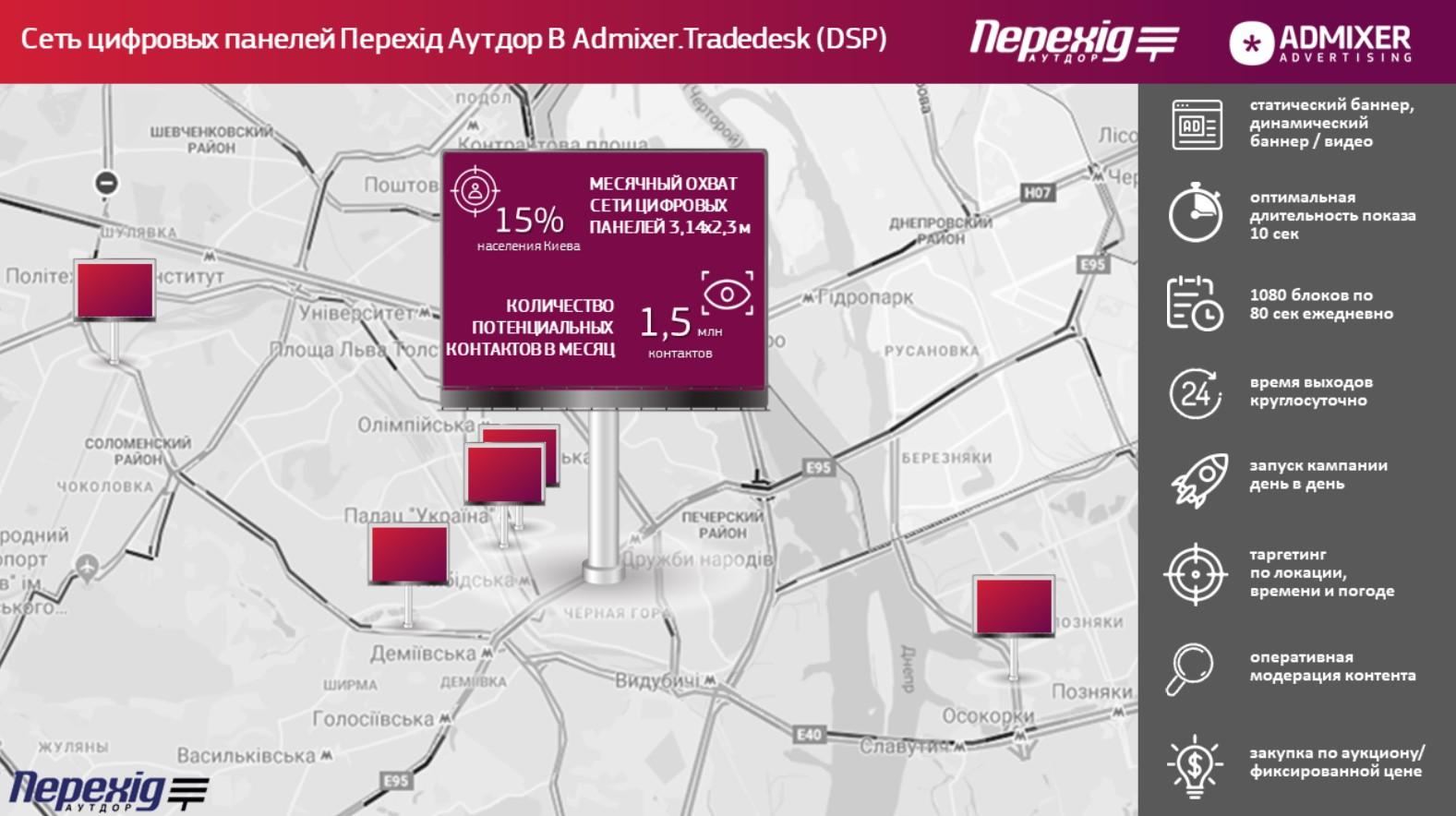 Цифровая наружная реклама. Расположение новых экранов Перехид аутдор в Admixer DSP (TradeDesk)